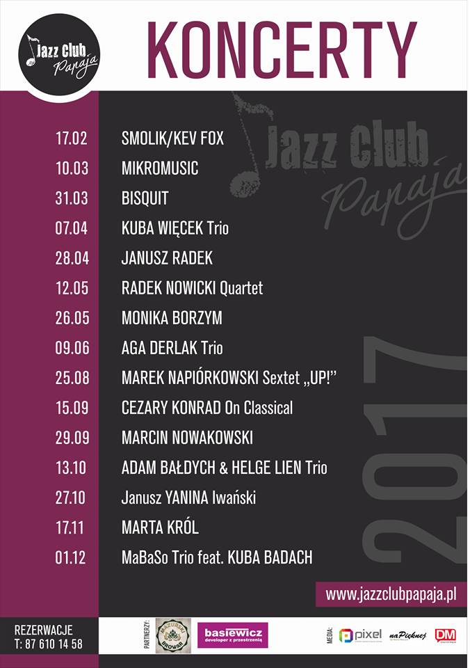 koncerty w Jazz Club Papaja 2017